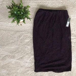 Plum colored pencil lace skirt